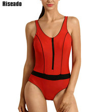 Riseado New 2017 One Piece Swimsuits Swimwear Women Swim Sports Suit Backless Sexy Zipper Bathing Suits