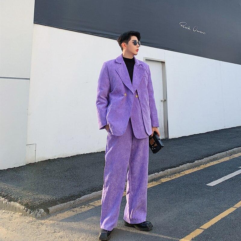Men 2 Pieces Vintage Corduroy Casual Suits Sets Male Streetwear Fashion Show Suit Coat Elastic Waist Pant Stage Clothing