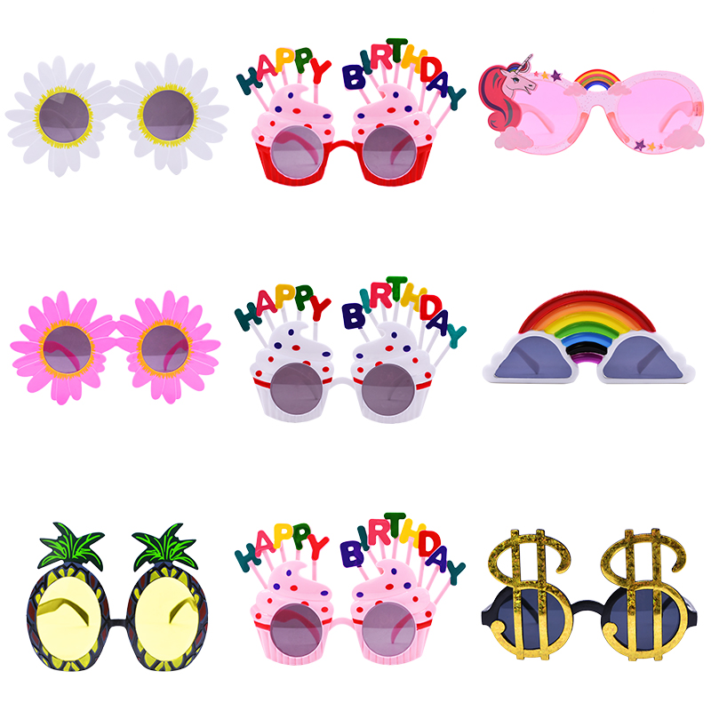 1pcs Happy Birthday Glasses Decora Plastic Funny Photo Booth Props Adult Kids Birthday Party Favor Glasses Party Supplies