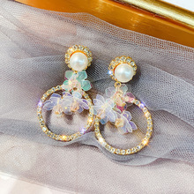 geometric circle with earrings long paragraph temperament of super hsien pearl color light film flowers earring