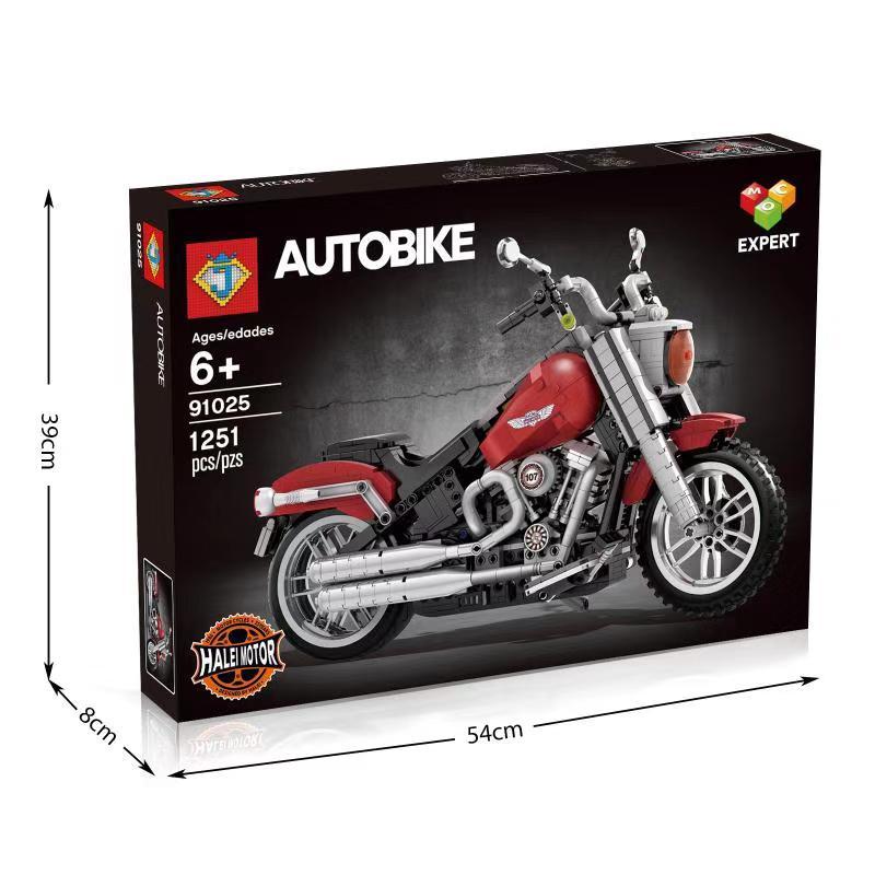Lepinblocks 91025 Technic Compatible 10269 Harley Motorcycle Fat Boy Legoinglys Vehicle Set Building Blocks Bricks DIY Toys