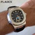 PLADEN Männer Uhren Moderne Senior Wasserdichte Leder Quarz Armbanduhr Strap Mond Phase Auto Datum Patek Business Dive Männlichen Uhr