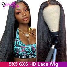 Upretty 4x4 6x6 peruca de fechamento em linha reta peruca dianteira do laço pré arrancadas em linha reta perucas do cabelo humano 180 250 densidade 13x6 perucas dianteiras do laço
