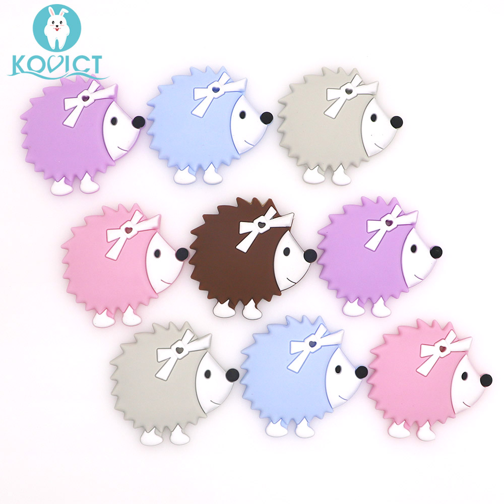 Kovict BPA Free 5/10pcs Hedgehog Silicone Baby Teether Rodent Cute Baby Teething Toys Chewable Animal Shape Nursing Gift