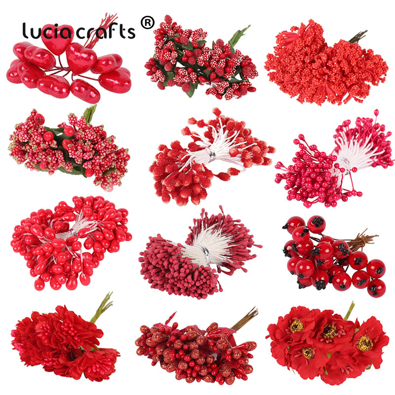 Cherry Mixed Red Artificial Flower For DIY Wedding Cake Gift Box Decor 1