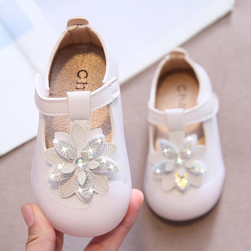 Toddler Shoes Girl 0-1-3 Years Infant Girl Strape Shoes With Rhinestones Flowers Soft Leather Baby Walking zapatos bebe fiesta