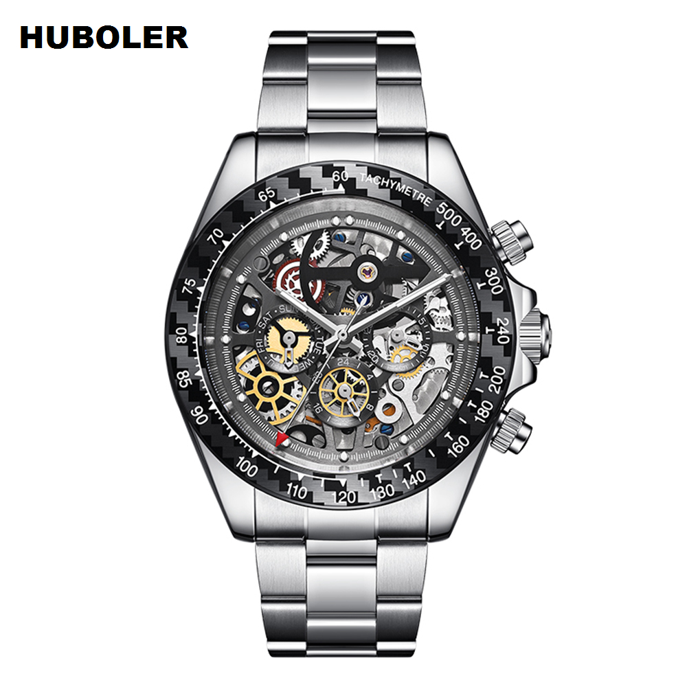 Watch Men Automatic Mechanical Watch Mens Fashion Skeleton Black Military Watches Stainless Steel Luminous Waterproof Watch New