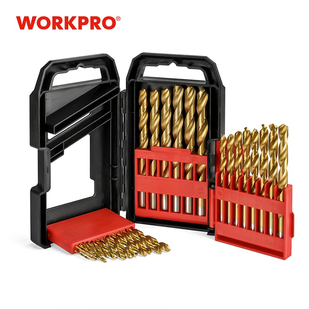 WORKPRO 29 PCS Drill Bit Set Titanium Coated HSS Drill Bit Set For Wood Plastic Aluminum Copper