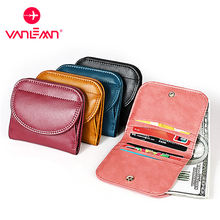Кожаный кошелек с технологией rfid Женский винтажный держателем