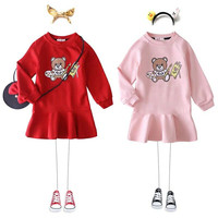 2019 Fashion Autumn&Spring Girl Party Dress Clothes Red Cotton Dress Children Long Sleeve Dresses Baby Girl Clothes Christmas