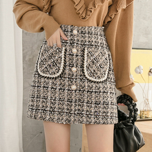 New Women Plaid A-line Buttons Mini Tweed Skirts Above Knee Vintage Pockets Skir