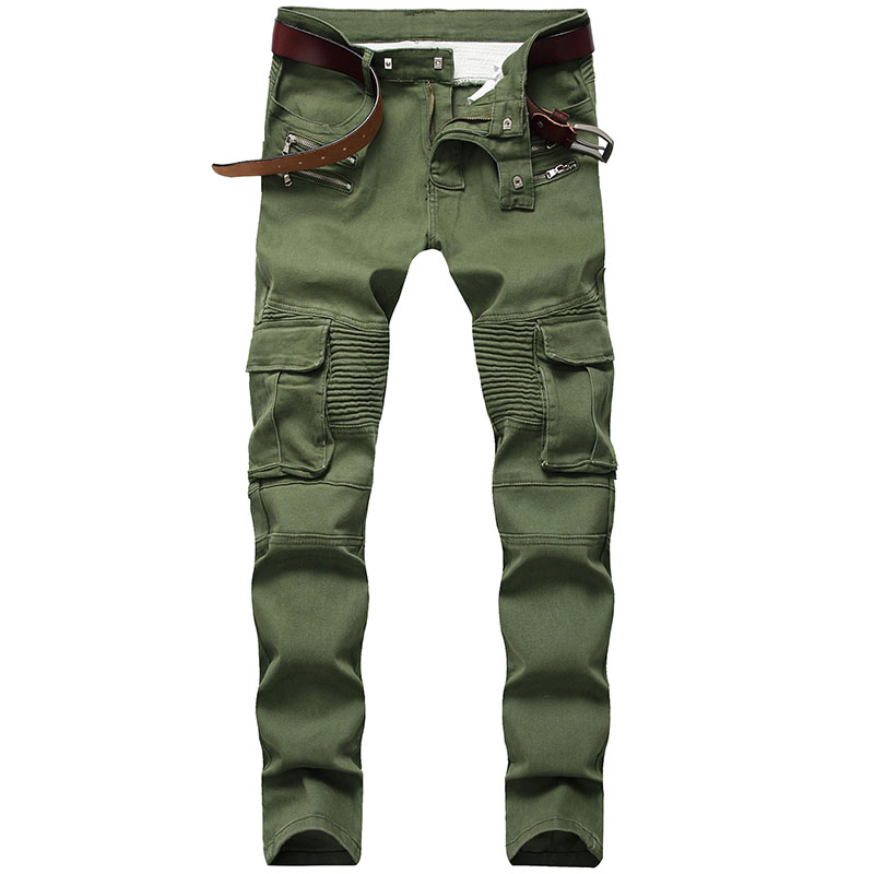 KIOVNO Men's Biker Pleated Jeans Pants Side Pockets Motorcycle Denim Trousers Black Army Green