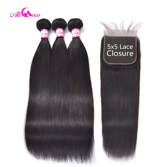 Ali Coco Brazilian Straight Hair With Closure 5x5 Lace Closure With 3 Bundles Weave Non Remy Human Hair Bundles With Closure