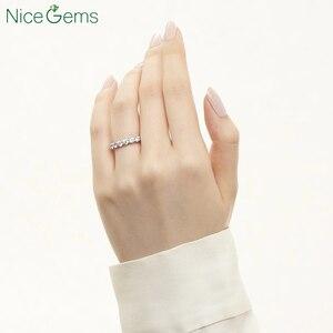 Image 5 - NiceGems 14K 585 or blanc Moissnite éternité bande 3mm/3.5mm/4mm/5mm rond brillant moissanitebague de mariage alliance