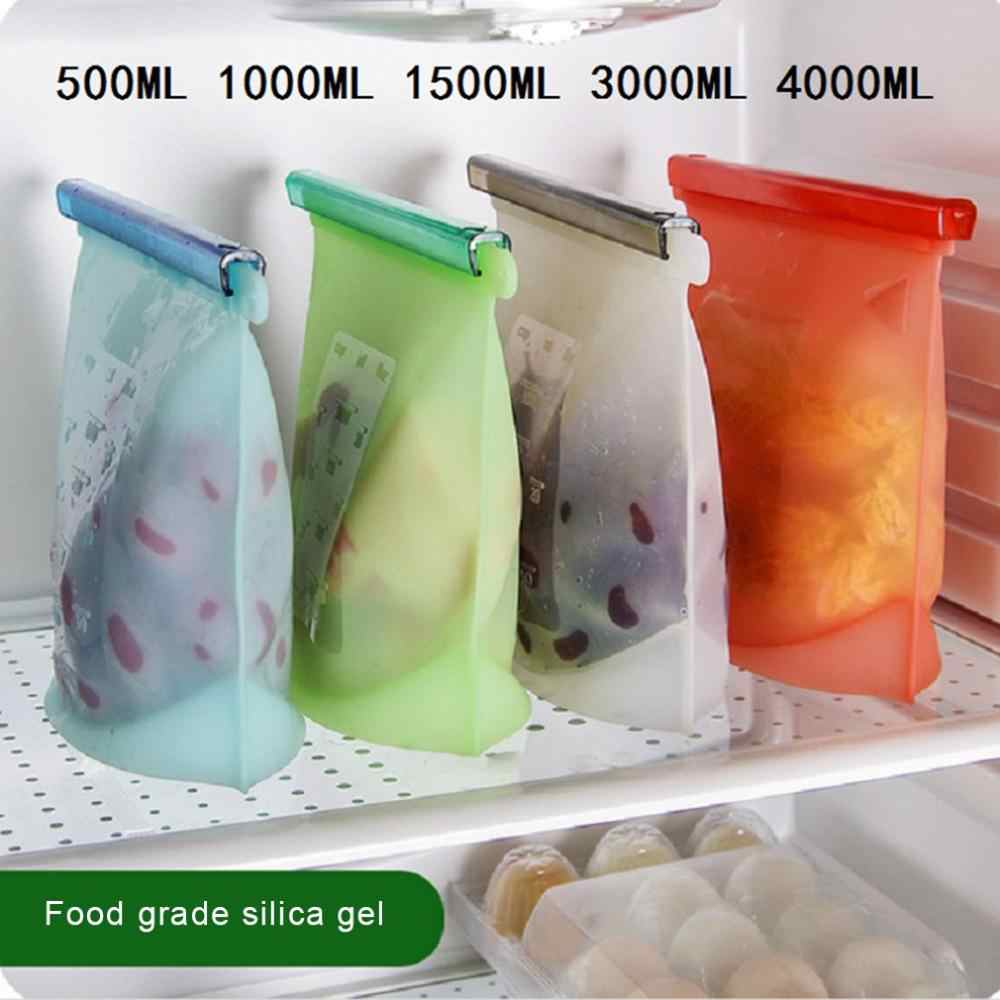 Silicone Food Bags Fresh Bag Kitchen Tool Reusable Storage Sealed Fruit Sealed Household Stand Up Zip Shut Container