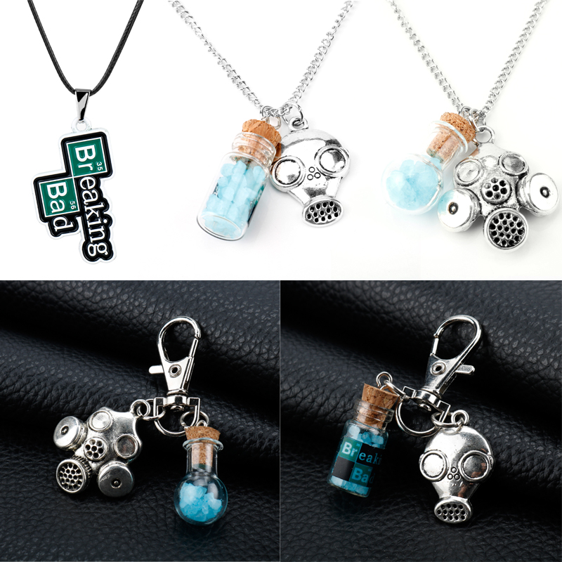TV Show Breaking Bad Keychains Heisenberg Walter White Keyrings Key Chains Crystal Blue Vial Cork Bottle Gas Mask Charm Necklace image