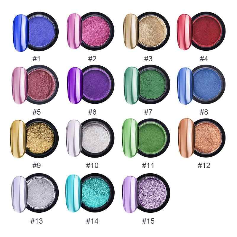 מתכתי צבע ציפורניים מראה אבקת נצנצים קישוטי ציפורניים אמנות UV ג 'ל ליטוש כרום פתיתי פיגמנט Shinny אבק Decoratio