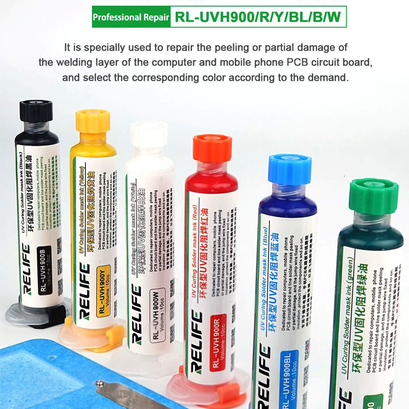 Relife ORIGINAL RELIFE 10ML TOP QUALITY UV SOLDER MASK PCB BGA PAINT  PREVENT CORROSIVE ARCING Soldering Welding Fluxes Oil