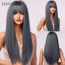 Синтетический парик с челкой HENRY MARGU, длинные парики для женщин, термостойкие, косплей, натуральные парики на каждый день
