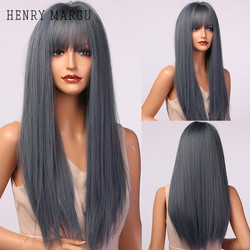 HENRY MARGU Long Blue Gray Synthetic Wig With Bangs Straight Hair Wigs for Women Heat Resistant Cosplay Natural Daily Wigs