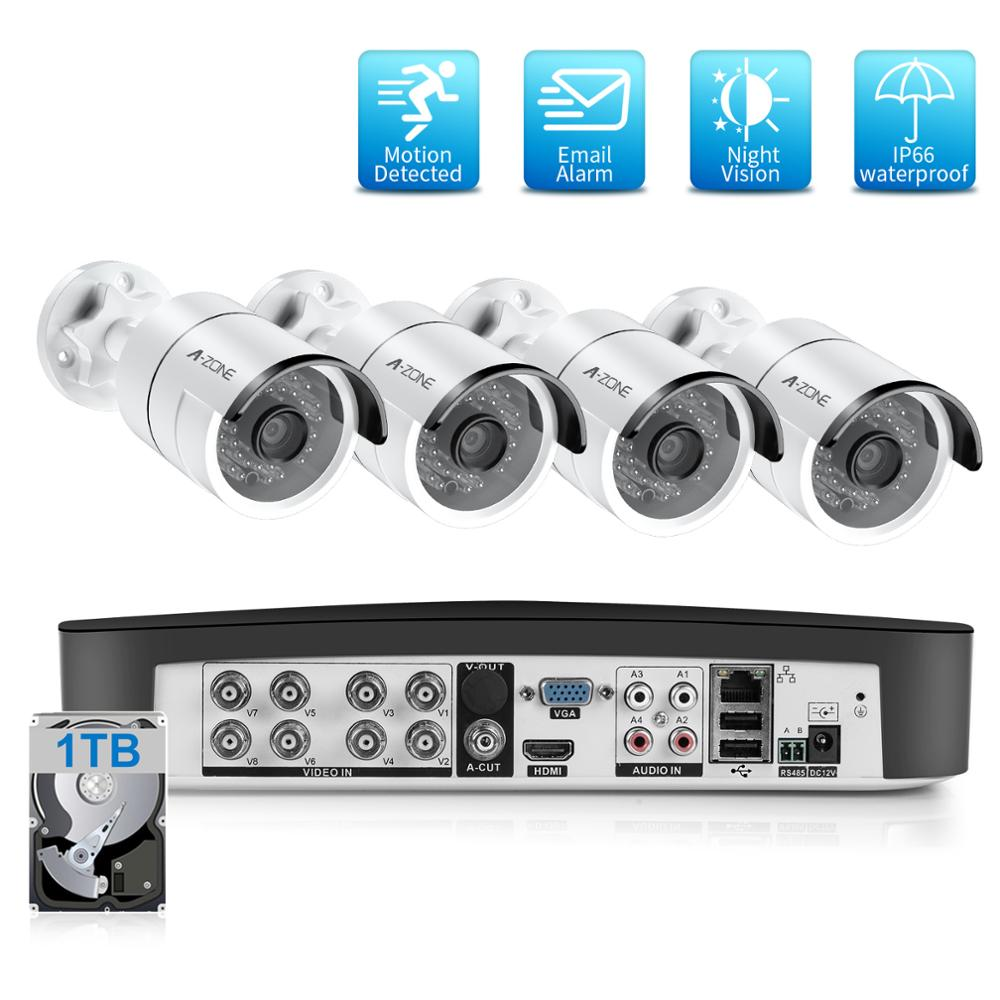 8CH 2.0MP Security Camera System Set 4pcs 1080P AHD Waterproof Street Camera Outdoor Video Surveillance Kit CCTV System HDD