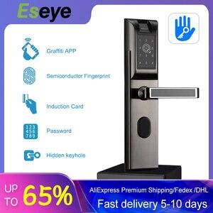 Eseye Wi-Fi биометрический дверной замок, отпечаток пальца, умный цифровой дверной замок, приложение, Bluetooth, для дома, квартиры, противоугонная