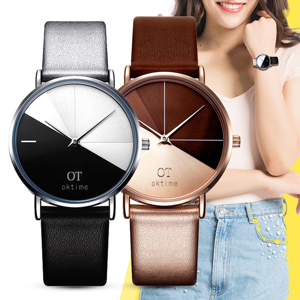 Creative Women's Watch Girl Student Watch Hit Color Dial Leather Band Ladies Quartz Wristwatch часы женские Reloj Mujer Montre/d
