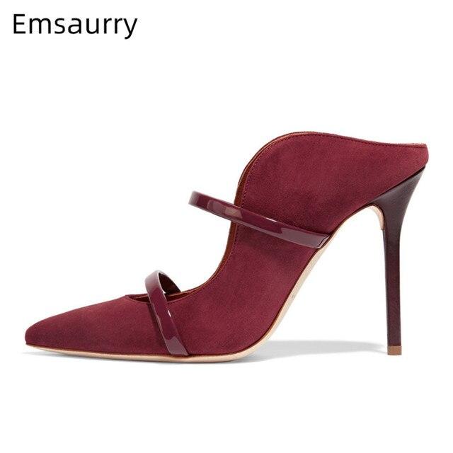 Ladylike فستان أحذية سوداء عالية الكعب مضخات الضحلة أحذية خفيفة البغال مدبب أصابع أحذية العمل الانزلاق على أحذية امرأة