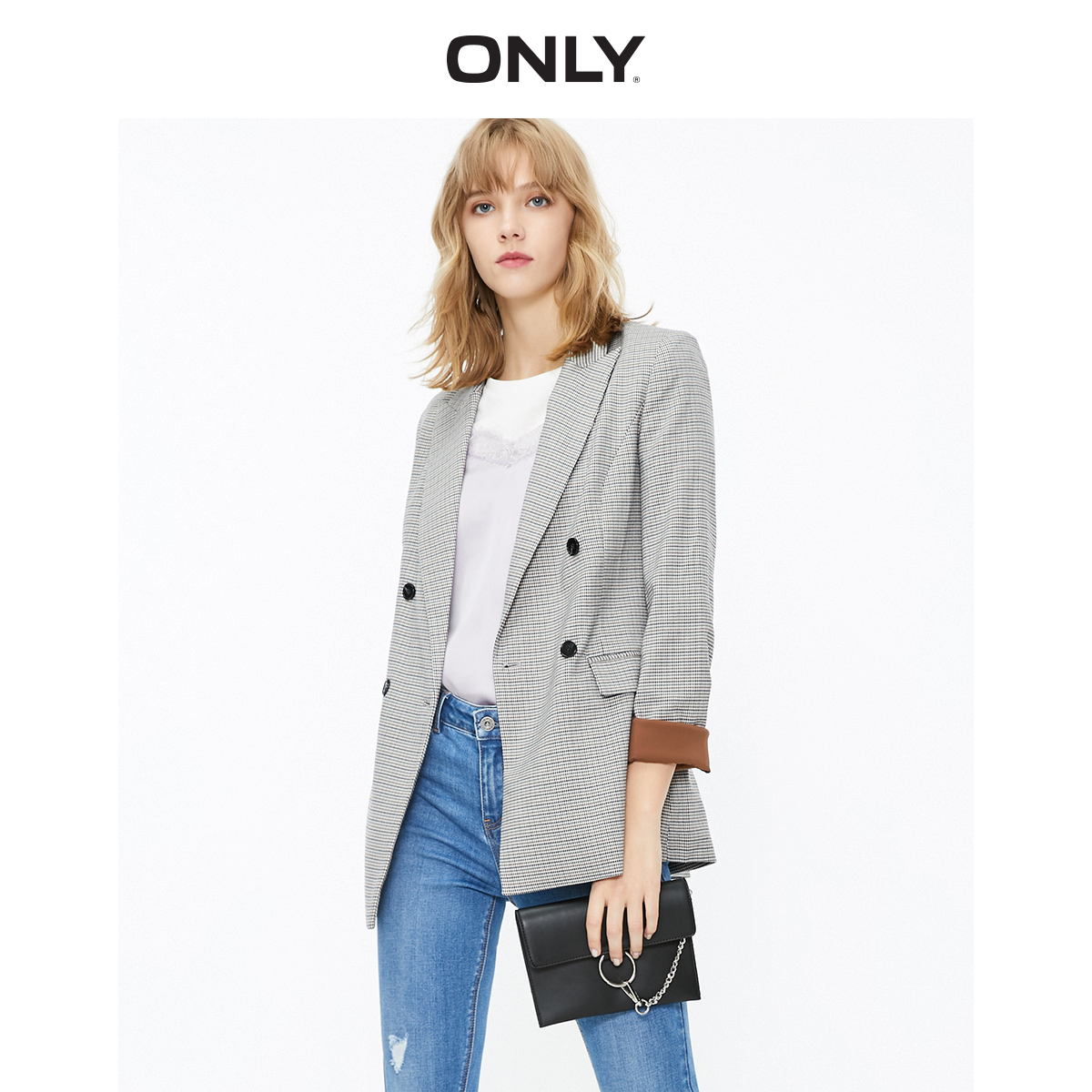 Women's Slim Fit Checked Thin Blazer    119308522