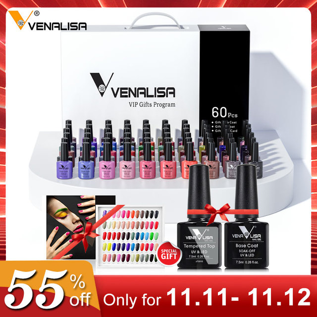 new 60 fashion color Venalisa uv nail gel polish kit vernish color gel polish for nail art design whole set nail gel learner kit