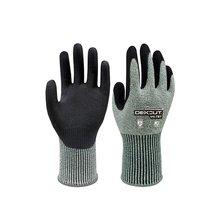 Duogeili Universial 5-уровневые анти-режущие защитные перчатки нитриловые резиновые ладони Sandy окунутые устойчивые к порезам HPPE Рабочие Перчатки