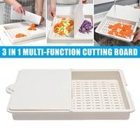 3 in 1 Chopping Board Kitchen Drain Flip Cutting Boards Cutting Board Multi function Home Supplies PAK55
