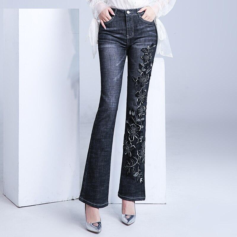 FERZIGE Brand Jean Sweet Embroidery Flare Pants Female Streetwear Elastic Skinny High Waist Jeans Women Black Pants Plus Size 36
