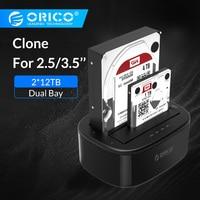 ORICO Clone Docking Station 2.5 3.5 Dual Bay SATA To USB 3.0 HDD Enclosure Tool Free Duplicator HDD Case 24TB for Windows Mac OS