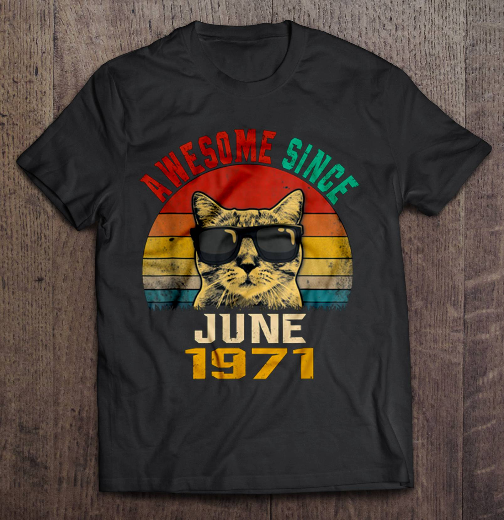 Awesome Since June <font><b>1971</b></font> Cat With Glasses <font><b>Vintage</b></font> Version T-Shirts image