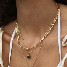 Unique Design Gold Color Metal Chain Necklace Delicate Square Malachite Pendant Necklace Multiple Combinations Unisex