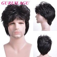 GURUILAGU короткие прямые парики для мужчин черный коричневый цвет парик мужской синтетический парик с челкой натуральный мужской парик термос...