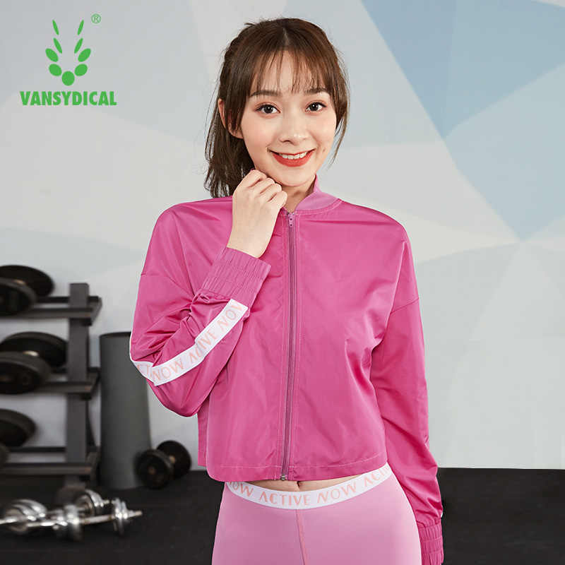 Vansydical ランニングジャケット女性の手紙プリント mandrain 襟とジッパー防風ジム服女性スポーツ風コート