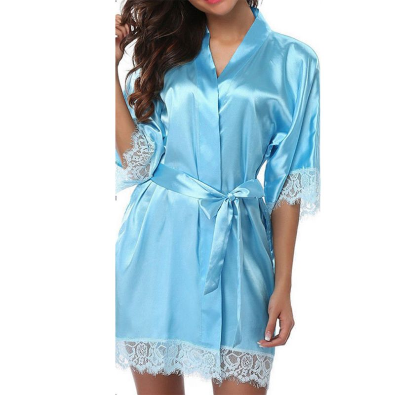 Womens Summer Ice Silk Half Sleeve Nightgown Sexy Eyelash Lace Patchwork Short Kimono Robe Solid Belted Sleepwear With Pockets