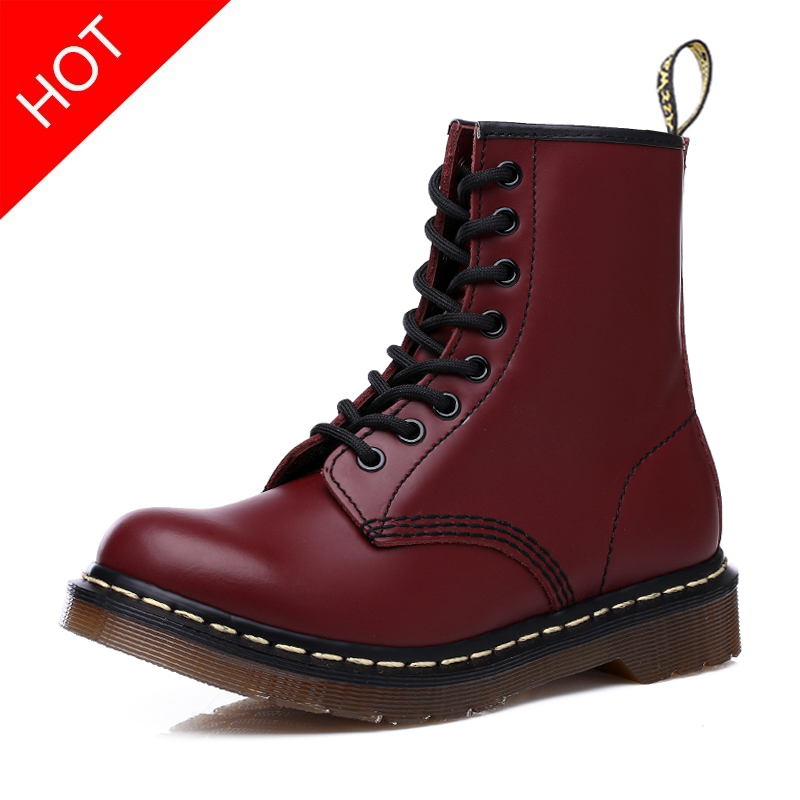 2019 Winter Dr Motocycle Warm Ankle Boots Fur For Women Martin Boots Adult High Top Waterproof Female Shoes Red Boot Size 42