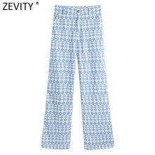 Zevity 2021 kobiet w stylu Vintage niebieski nadruk geometryczny proste spodnie biurowa, damska Zipper Fly Chic Business zwykłe długie spodnie P1031