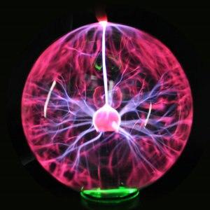 Image 2 - 8 polegada/203mm plugue da ue novidade iluminação plasma bola de vidro lâmpada esfera mágica decorativa lâmpada natal ano novo crianças presente