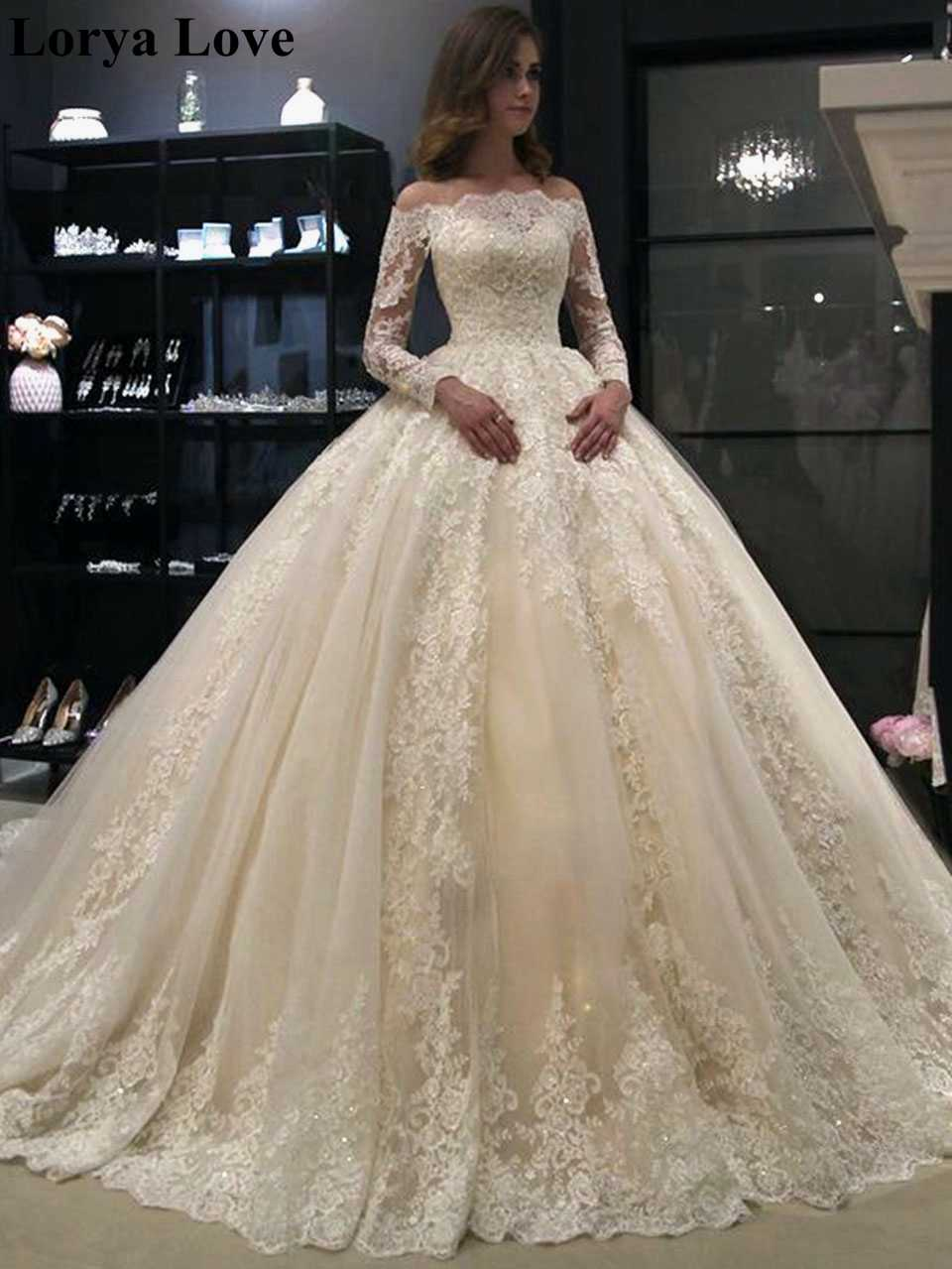 Ivory Off Shoulder Summer Luxury Wedding Dresses Women 20 Beauty Plus  Size Robe De Mariage Princesse Long Sleeves Bridal Dress