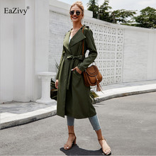 EaZivy women trench coat 2019 Fashion casual Army green Loose winter windbreaker