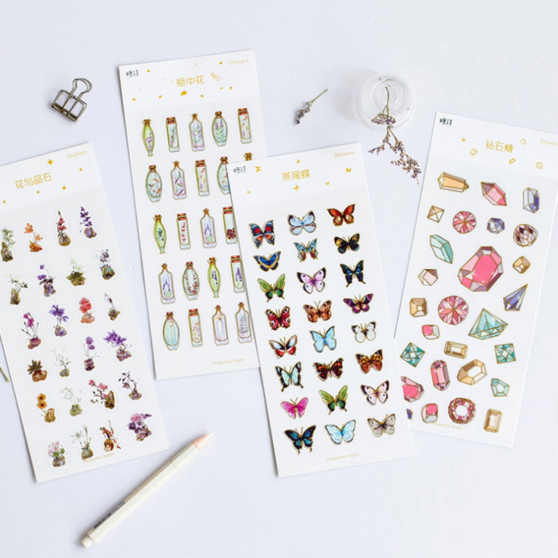 1sheet Hot Stamping Series Sticker Diamond Butterfly DIY Scrapbook Sticker Diary Sticky Notes Handbook Decoration Stickers