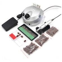 Prata profissional prego polisher ferramentas arquivo da arte do prego bits manicure kit 35000 rpm 110v/220v elétrica máquina de broca do prego