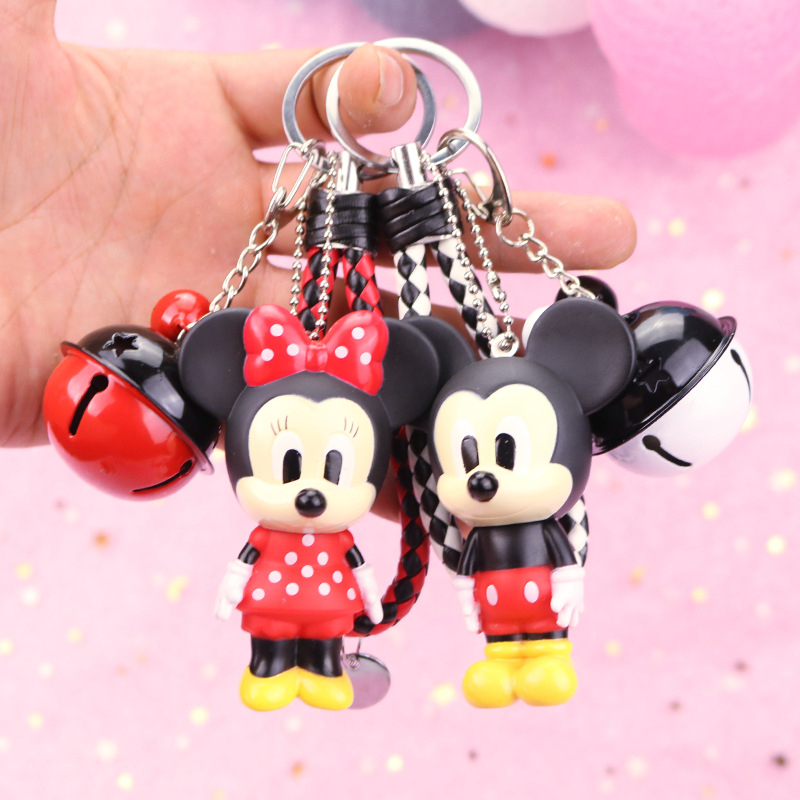 Hot Mickey Pvc Doll Toy Minnie Mickey Mouse Key Ring Anime Mickey Minnie Mouse Model Doll Keychain Toys For Kid Girl Bag Pendant