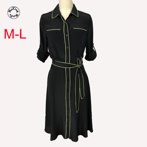 Silk dress medium length silk dress European and American style lace belt silk dress M to L