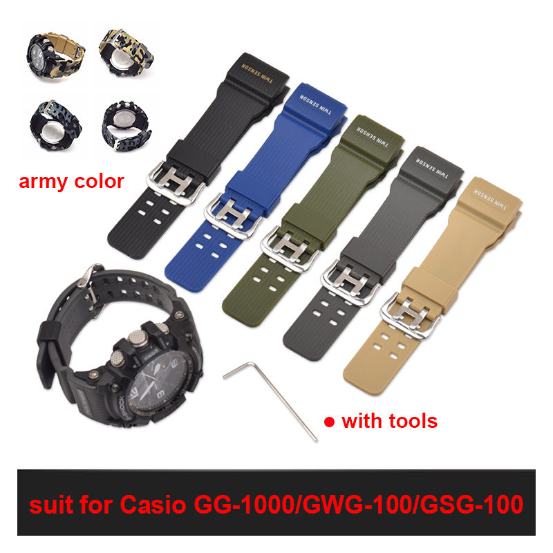 Watch Band Suitable for Casio Strap GG-1000 / GWG-100 / GSG-100 Watch Accessories Army Color Silicone Strap image