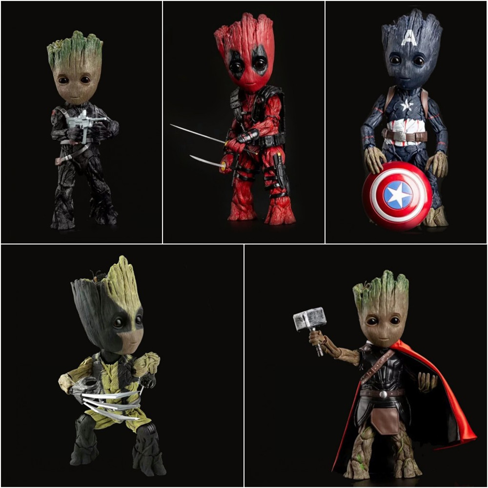 Marvel Anime Figures Guardians of the Galaxy Groot Cosplay Thor Wolverine Deadpool Action Figurine PVC Captain America Doll Toys